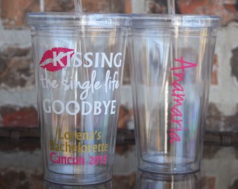 Kissing the single life goodbye bachelorette party tumbler