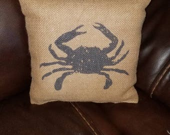 Burlap pillow with blue crab