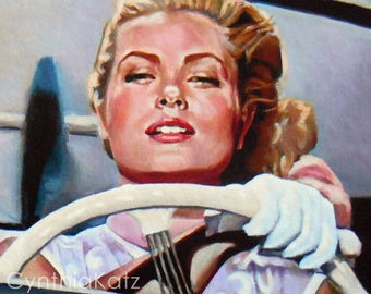 Art Print Reproduction // Watch Out! // From Original Acrylic Painting // Movie Art // Grace Kelly // 22.4 cm x 27.4 cm // Cynthia Katz