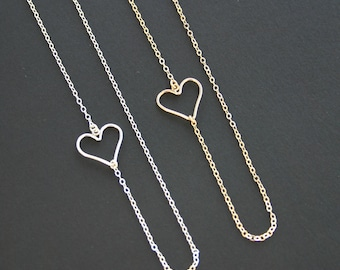Heart Necklace Off Center In Sterling Silver or 14kt Gold Filled
