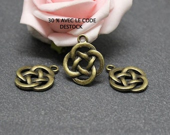 Chinese bronze BRB164 10 bow charms x