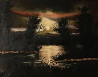 Orange sunset-oil painting MA