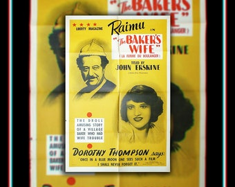 BAKER'S WIFE (1938) Marcel Pagnol Very Rare 27x40 Fold US One Sheet Movie Poster Original Vintage Collectible