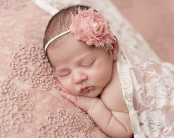 Antique Pink Headband, Pink Shabby Chic Headband, Newborn Headbands, Pink Baby Headbands, Pink Headbands, Photography Prop