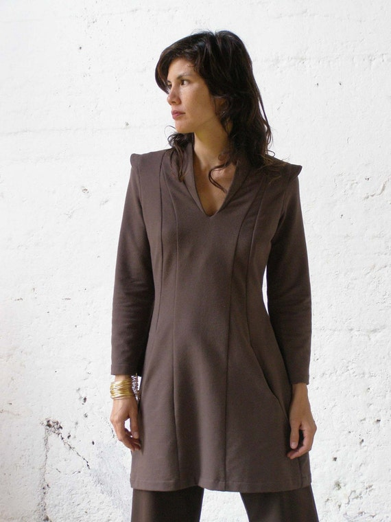 Tunics Women sleeves Long Terry Tunic Winter French Of Game Tunic Brown Casual Unique Wear Fashion Dress Thrones Tunic The For OxfCFw