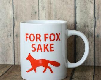Coffee Mug Decal - Funny Cup Decals - Custom Coffee Mug Decal - For Fox Sake - Coffee Bar - Coffee Gift - Stocking Stuffer - Christmas Gift
