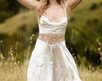 Slip Dress Gown Lingerie Nightie / Silk Lace White Ivory Heart Sheer Draped / JANUS Short Gown - Alabaster