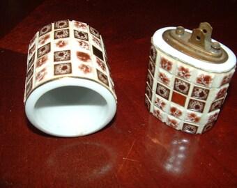 Sale.....Mosaic Tile Table Lighter and Cigarette Holder, Coffee Table Lighter Set, Case