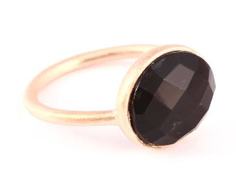 Black onyx silver rose gold plated ring (size 5 3/4)