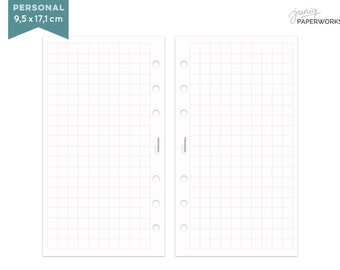 extra big checkered notepaper for Filofax - personal - 25 sheets