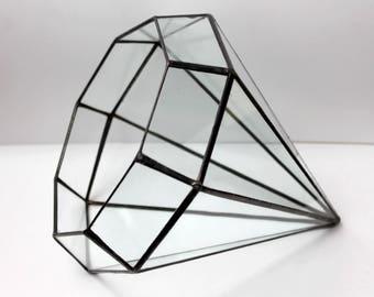 Diamond Planter, Glass Geometric Terrarium Container, Handmade Glass Terrarium, Geometric Home Decor, Stained Glass Terrarium,  Gifts