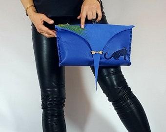 Handmade Dark Blue Leather Flap Over Evening Bag Wristlet