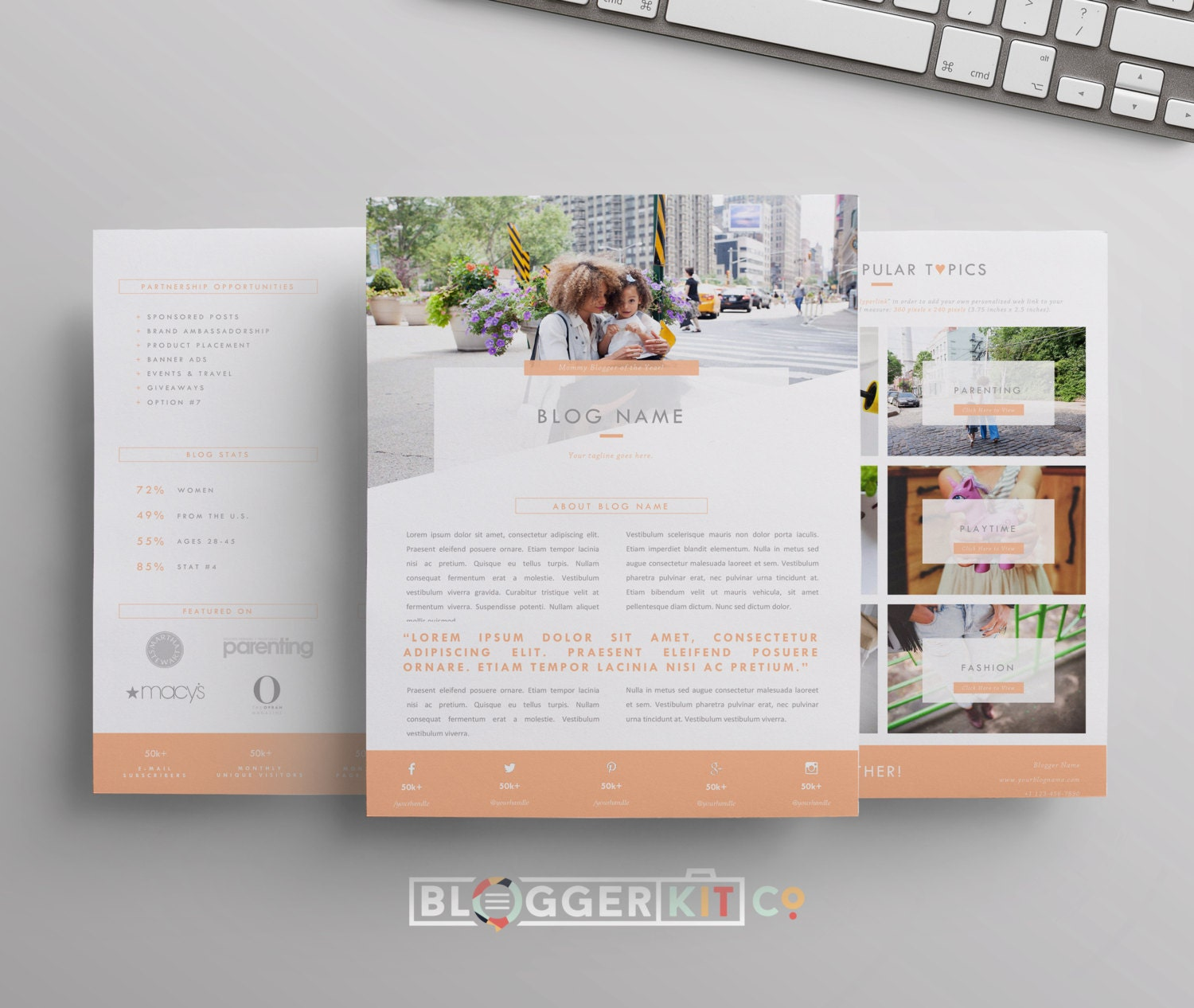 Three-Page Media Kit Template | Press Kit Template | Electronic ...