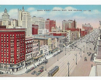 Vintage Linen Postcard, Canal Street, New Orleans, La., Ephemera,