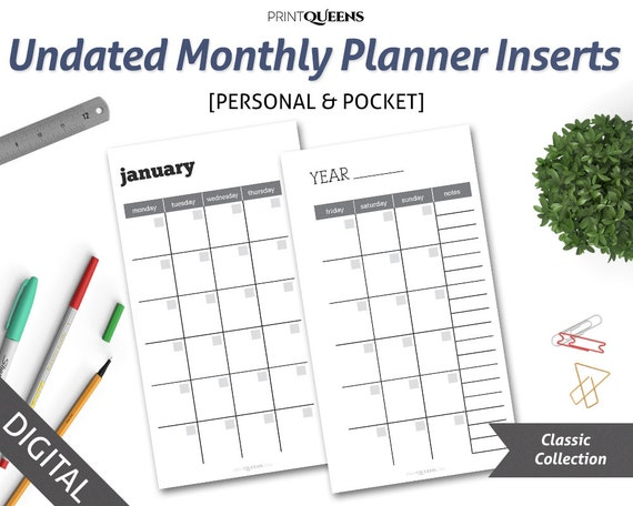 Undated monthly planner insert printable month on two pages mo2p pocket size planner inserts 2018 personal size blank calendar 2018
