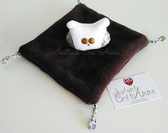 Hiboudou blanket ecru/Brown dark, patterned OWL Liberty Adelajda Brown, ecru Velvet