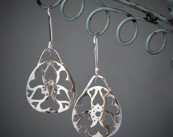 Silver dangle earrings, triangle, heart, Drop Earrings, intricate, patterned, gift for women, handmade, UK