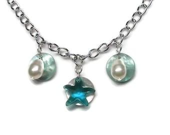 Swarovski Starfish Necklace with Swarovski Pearls and Mussel Shells