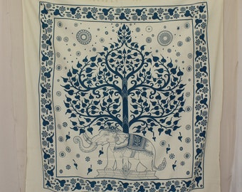 Blue Tree tapestries with fringe, Large Tree of life bedding, hippie hippy tapestries, bohemian tapestry wall hanging, dorm tapestry blanket