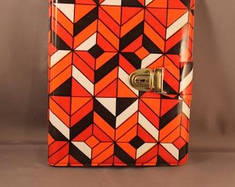 Amazing Notepad Folder Original 1970s 70s Pop Art Diamond Pattern Vinyl Cover Geometric Vasarely Psychedelic Style 60s 70s Orange red black