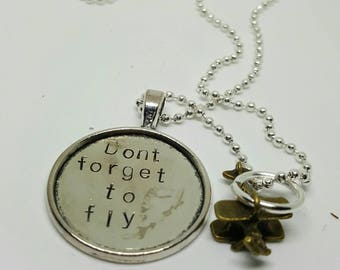 Don't forget to fly - plane charm - handstamped necklace Harry Styles - One Direction