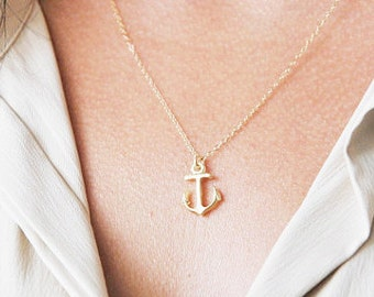 Gold anchor necklace or silver anchor necklace, beach necklace, minimalist necklace, dainty layering necklace, minimal necklace, simple gift