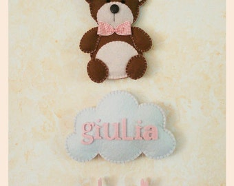 Teddy bear and little cloud, felt, customizable colors and in writing. Stitchable, room decoration, gift idea.