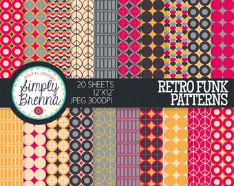 Retro Digital Paper Pack - Patterned Digital Paper Pack - Retro Funk - Personal & Commercial Use INSTANT DOWNLOAD