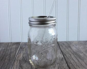 16 oz. Mason Jar Tumbler and BPA Free Acrylic OR Glass Reusable Straw  - Pint Size