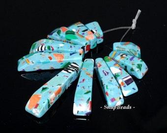 Matrix Turquoise Gemstone Turquoise Blue Loose Beads Graduated Set 11 Beads (90114198-108)