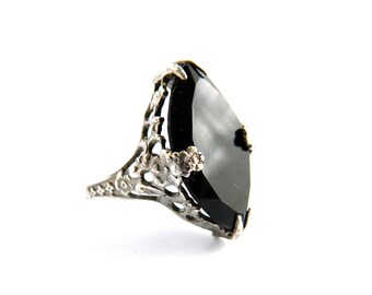 Antique Edwardian Silver Filigree Black Marquise Solitaire Ring - Engraved Flowers On Band - Diamond Cut Glass - Vintage - Size 6 - High End
