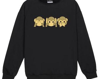 Emoji Sweater Jumper Womens Ladies Fun Tumblr Hipster Swag Fashion Grunge Retro Top Goth Cute Monkey Emotions Punk Girls Boho Kale Kawaii