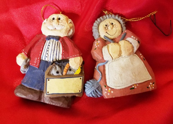 mr mrs claus Santa christmas ornaments decoration clay ceramic