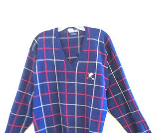 Vintage 80s , navy blue cotton , polo , men's sweater-pullover with a red abd white stripes.Made by Ralph Lauren in Hong  Kong. Size large.