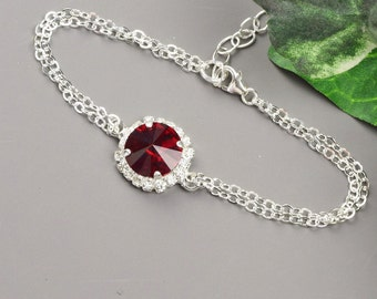 Ruby Red Bracelet - Silver Red Bridesmaid Bracelet - Swarovski Crystal Bracelet - Red Bridesmaid Jewelry - Wedding Jewelry - Bridal