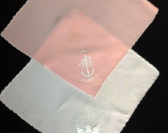 WWII Army and Navy Pink Satin Handkerchiefs (h-36)