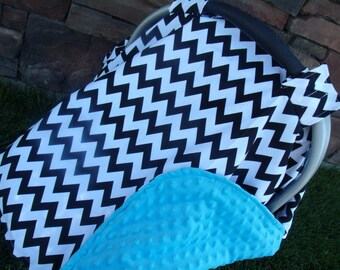 Carseat Canopy Minky Chevron Blanket car seat cover nursing cover car seat canopy Color Options Available