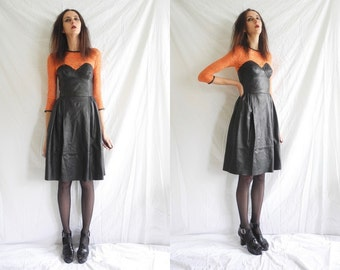 80's/90's punk, goth black and orange leather/lace fitted bustier top dress