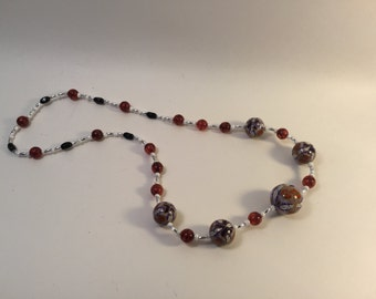 Fields of Grain line, Orange purple and white beaded necklace, handmade beads,
