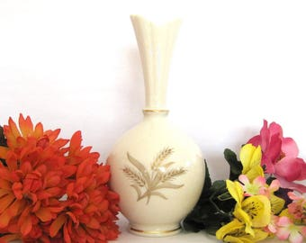 Vintage Lenox Vase Wheat Burberry Ivory China Hand Decorated with 24K Gold