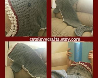 Crocheted Shark blanket, Custom made, Handcrafted- unique gift for all ages