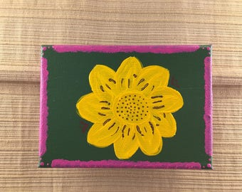Sunflower simple canvas painting 5x7