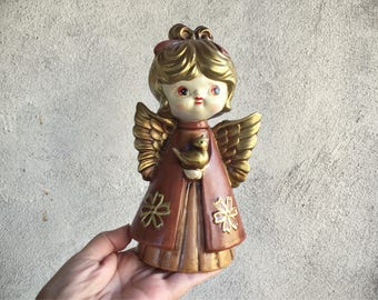 Vintage Angel Figurine Christmas Decoration, Peace on Earth, Shelf Angel Decor