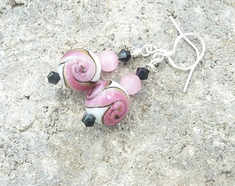 Pink Earrings, Earrings, Sterling Silver, Lampwork Earrings, Dangle Earrings, Boho, Handmade, Multi Colored, Mothers Day, Gift for Her