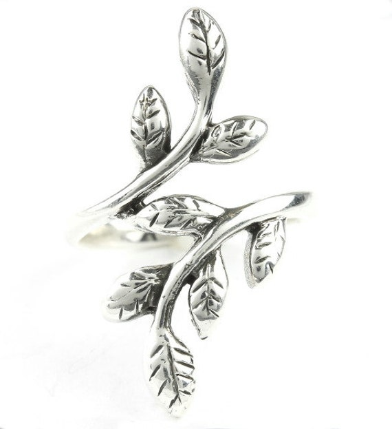 Revival Ring, Sterling Silver Leaf Ring, 925, Flower Ring, Boho, Gypsy, Festival Jewelry, Hippie Jewelry, Nature, leaves Ring