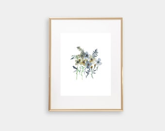 Watercolor Floral Print, Watercolor Floral