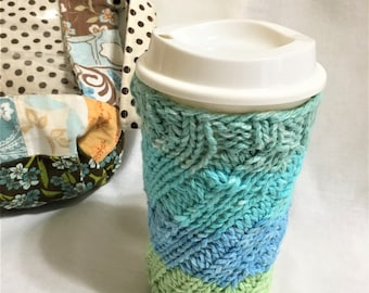 Large Teal, Blue and Green Striped Large Cup Cozy with Bottom.  Knit Cold Drink Cozy, Water Bottle Cozy, Smoothie Cup Cozy, Hand Knit Cozy