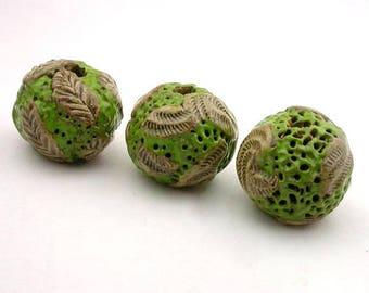 Green Beads, Leaf Beads, Pottery Beads, Ceramic Beads, Stoneware Beads, Tan Beads, Round Beads, artist beads, textured beads stringing beads