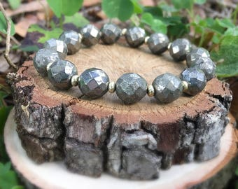 Dorothy Bracelet- Hematite(10mm) Beaded- Gray and Gold- Oliver Grey Jewelry - Stacking Bracelets - Gemstone Bracelet - Earthy Jewelry
