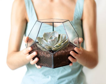 Glass Geometric Terrarium, Succulent Centerpiece, Mom Gift, Plant Lovers Gift, Gardening Gift, Geometric Vase, Wedding Decor, Dodecahedron